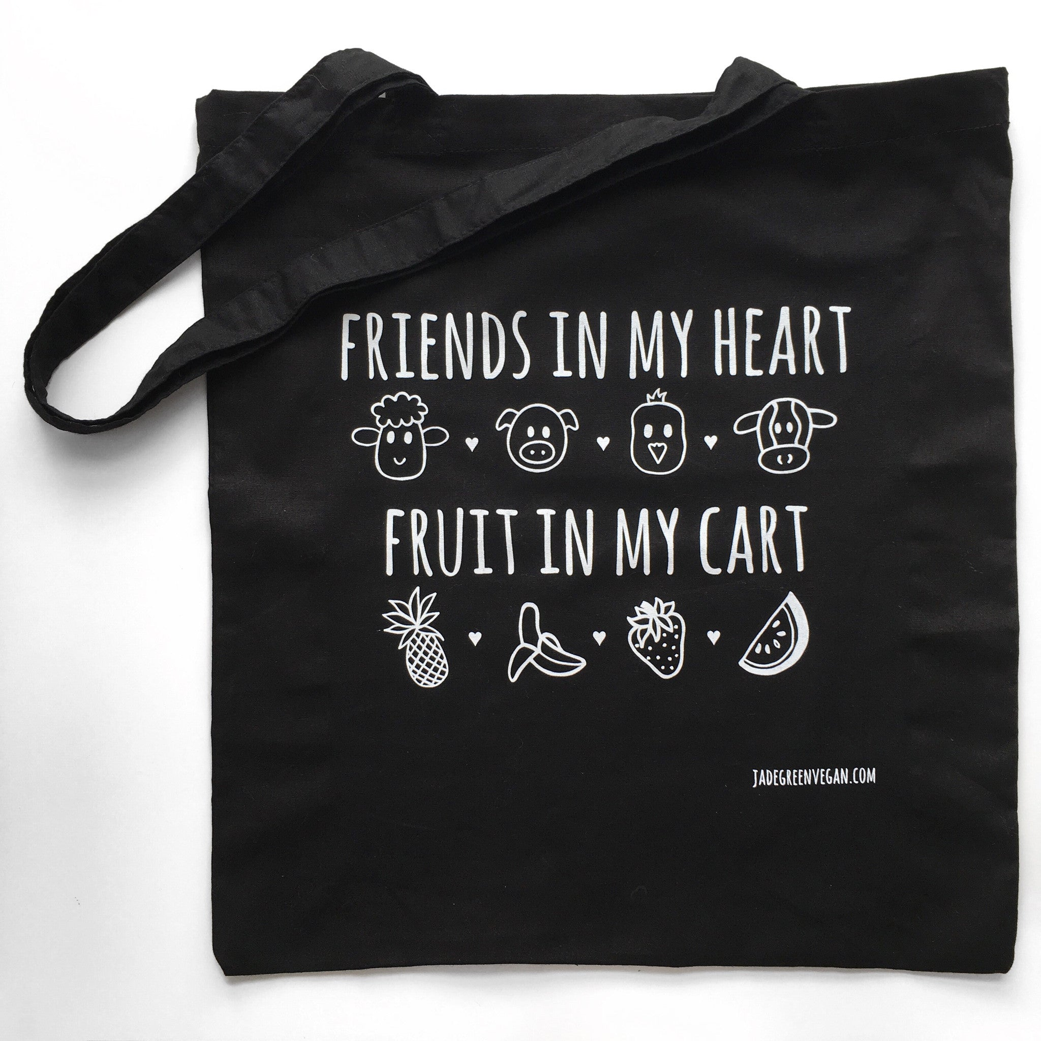 FRIENDS IN MY HEART FRUIT IN MY CART Black Tote Bag