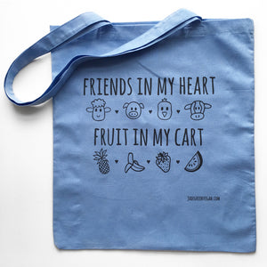 FRIENDS IN MY HEART FRUIT IN MY CART Blue Tote Bag