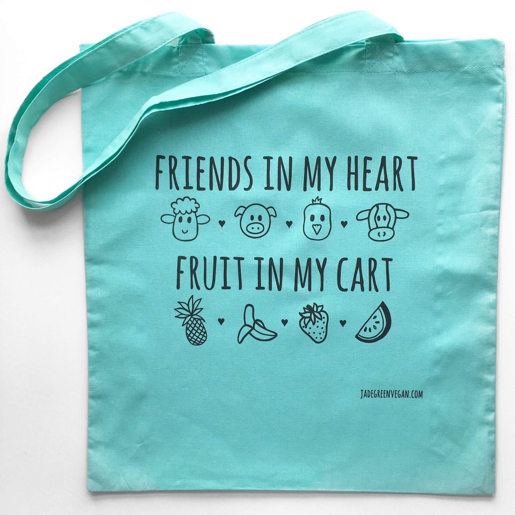 FRIENDS IN MY HEART FRUIT IN MY CART Green Tote Bag