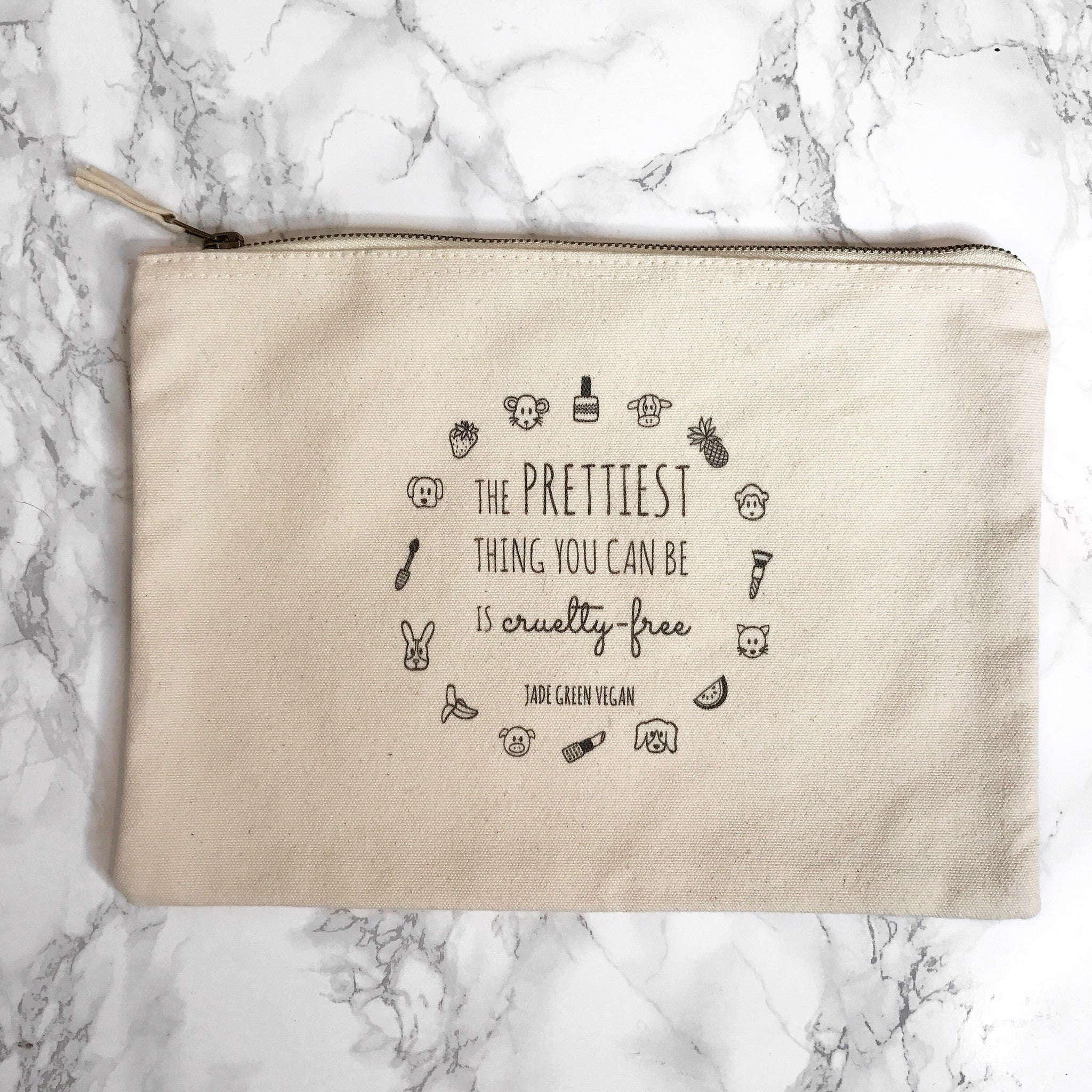 THE PRETTIEST THING YOU CAN BE IS CRUELTY-FREE Natural Cosmetics Bag