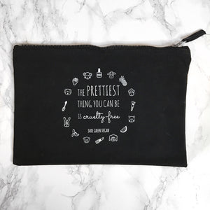 THE PRETTIEST THING YOU CAN BE IS CRUELTY-FREE Black Cosmetics Bag
