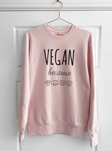 VEGAN BECAUSE Pink Organic Fair Wear Sweater