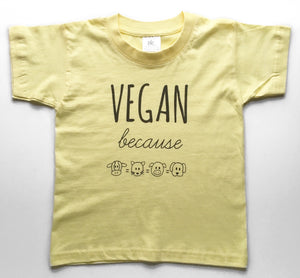 VEGAN BECAUSE Yellow Kids Tee
