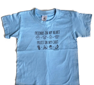 FRIENDS IN MY HEART FRUIT IN MY CART Blue Kids Tee