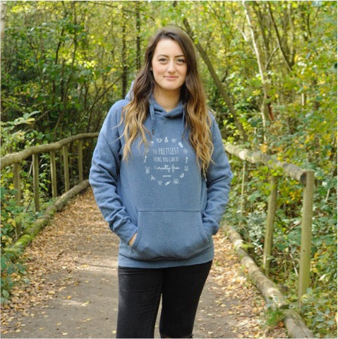 THE PRETTIEST THING YOU CAN BE IS CRUELTY-FREE Fair Wear Blue Hoodie