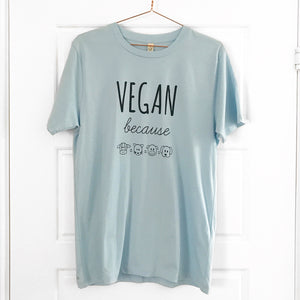VEGAN BECAUSE Fair Wear Organic Blue Unisex Tee