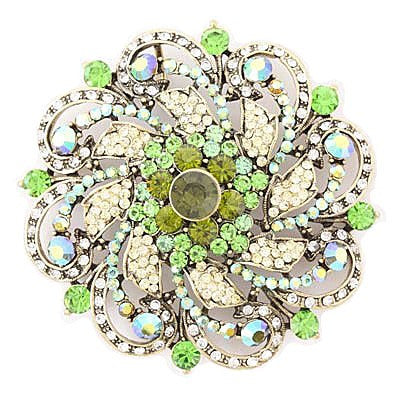 "[BRC]-Round Rhinestone & Gems Brooch- Green - jewelz by julz...""The Collection!"""