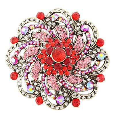 "[BRC]-Round Rhinestone & Gems Brooch- Red - jewelz by julz...""The Collection!"""