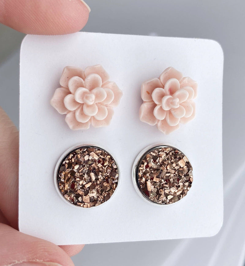 Pink Succulent Earrings - 12mm