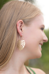 Tropical Leaf Earrings - Gold