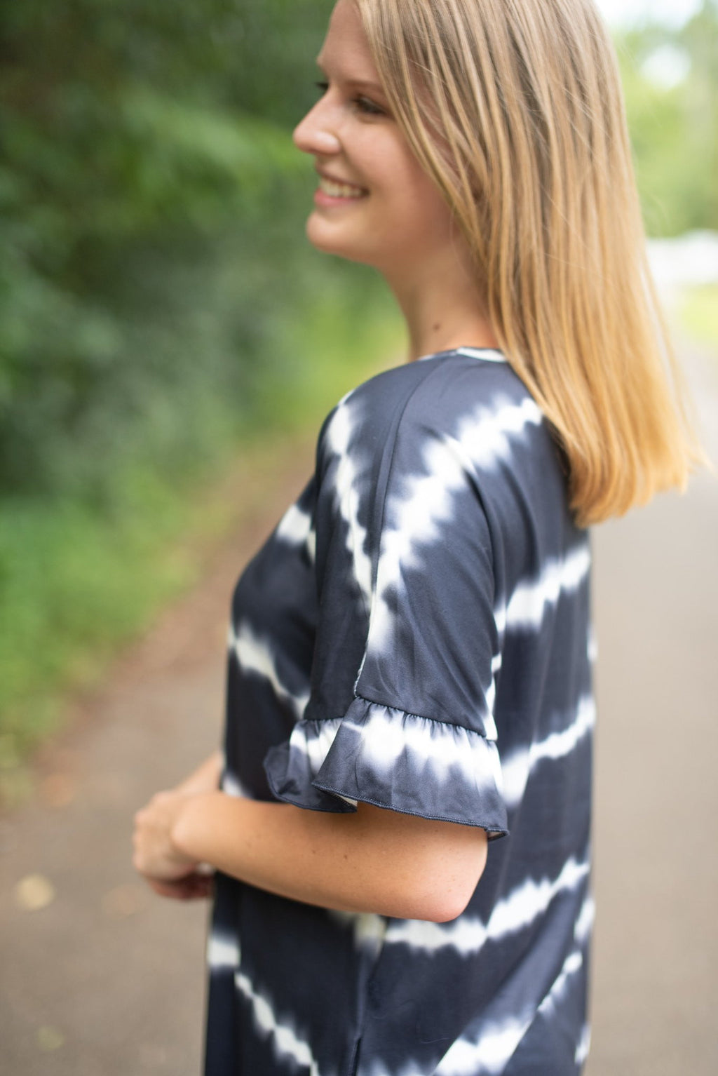 Tie Dye Striped Dress - Navy