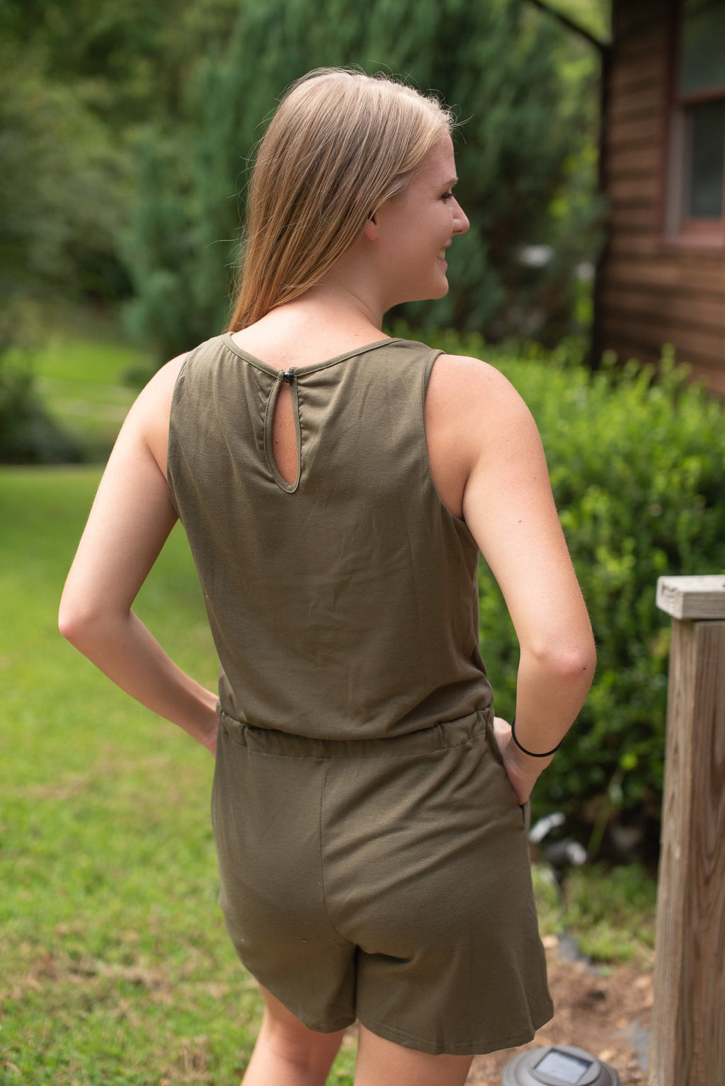 London Sleeveless Romper - Olive - Essential Southern Charm