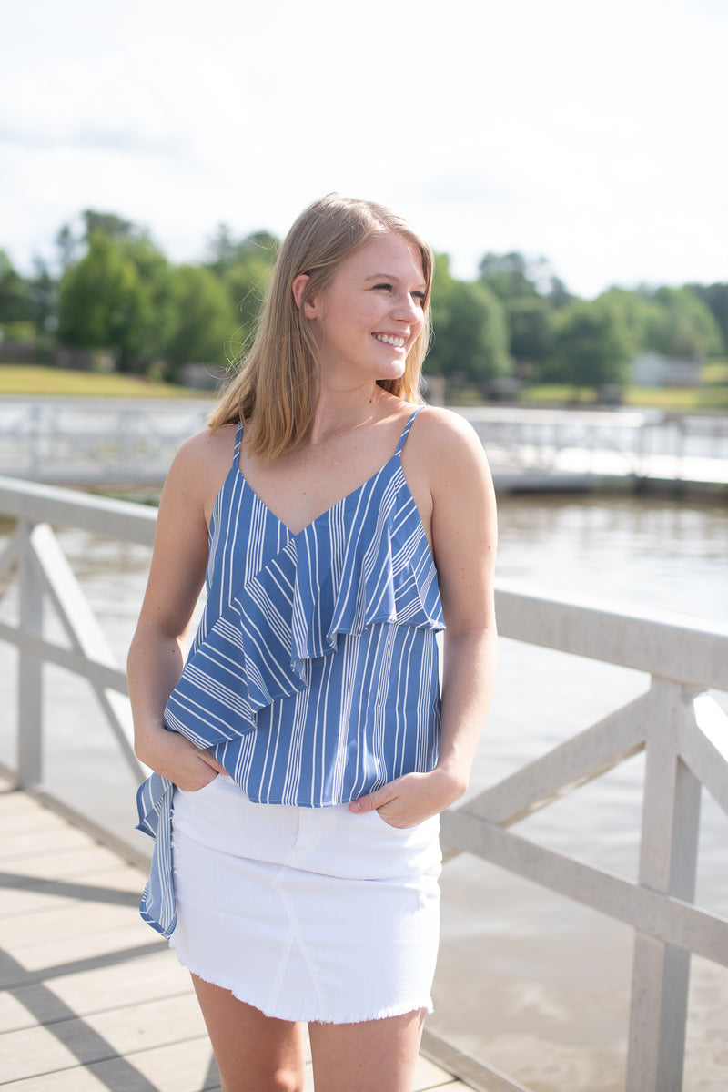 Marlee Blue & White Striped Tank Top