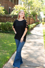 Open Arms Black Top - Essential Southern Charm