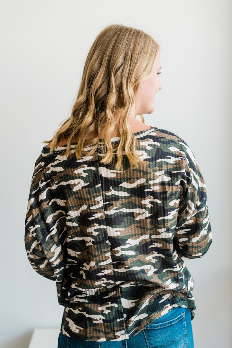 Camo Waffle Top - Pink or Green
