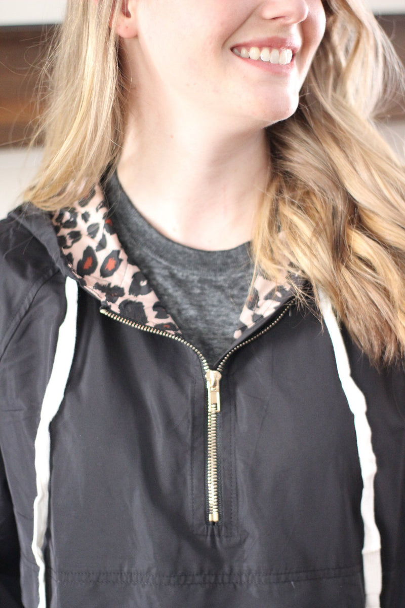 Black with Leopard Windbreaker