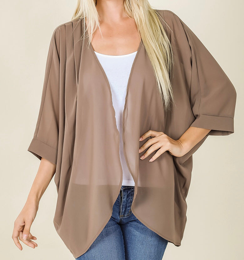 Chiffon Mocha Cardigan with Shoulder Pleats