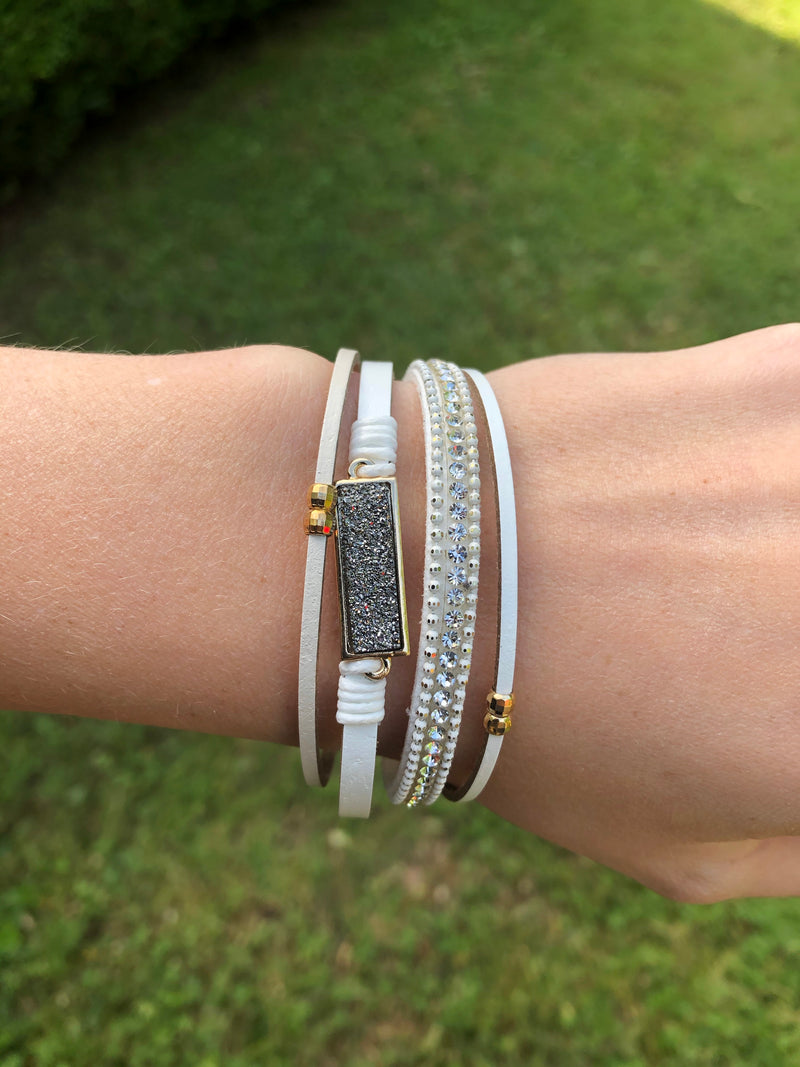 Rectangle Druzy with Magnetic Closure Bracelet - White