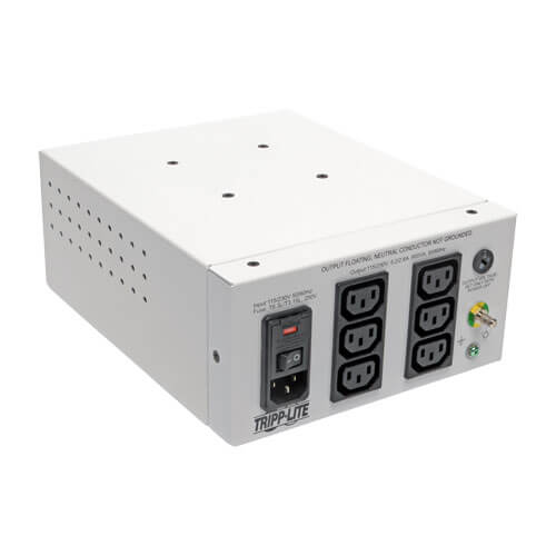 Dual-Voltage 115/230V 600W 60601-1 Medical-Grade Isolation Transformer C14 Inlet, 6 C13 Outlets