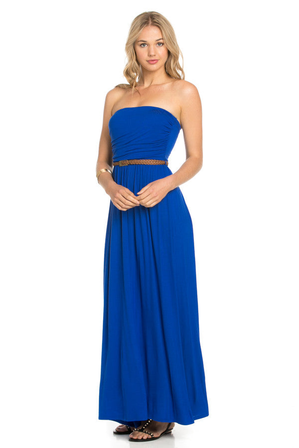 6596cb912c Royal Blue Solid Tube Top Maxi Dress with Belt – Forever Dream Boutique