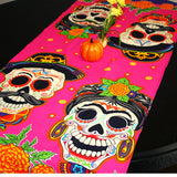 Day of the Dead Table runner 23x60 Inches, Fiesta Decoration.