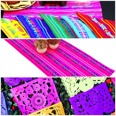 Mexican Fiesta Party Pack, 1 Papel Picado banner 16 feet, 1 table runner 14x72, and 6 Mexican Napkins, Cinco de Mayo