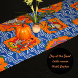 Day of the Dead Decorations, 14x60 Inches, Halloween Table Runner, Dia de los Muertos, Sugar Skull Decor