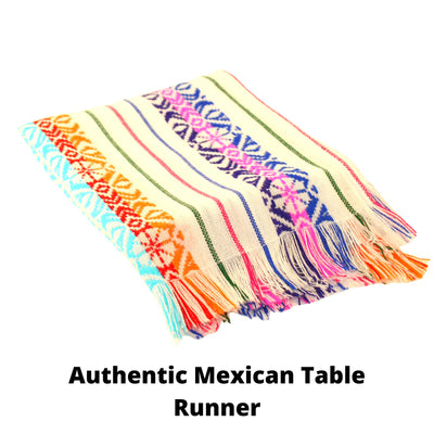 White MexicanTable runner, Fiesta Decorations Cinco de Mayo 14x72""