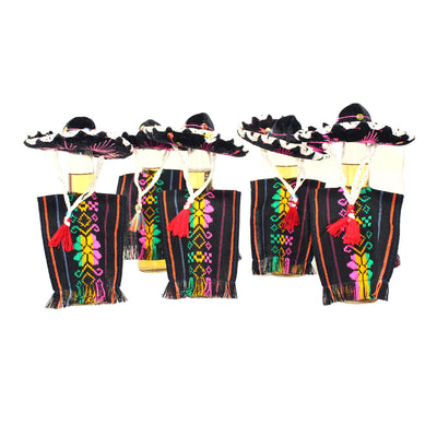 5 Authentic Black MINI Sombreros, 5 Bottle covers, Mexican decorative hats, Cinco de Mayo