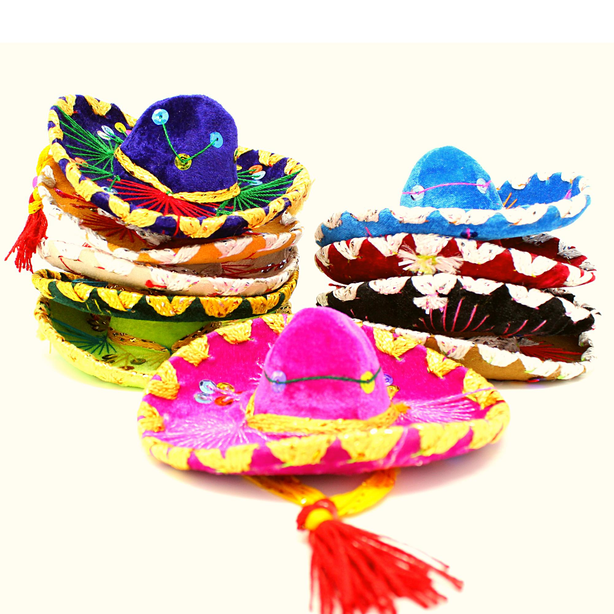 Sombrero, 10 Small Velvet Mariachi Sombrero in Assorted Color