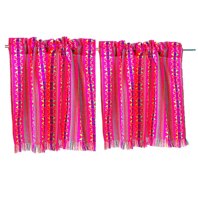 Set of two colorful curtains, Bohemian curtains, Boho decor. Pink Curtains.