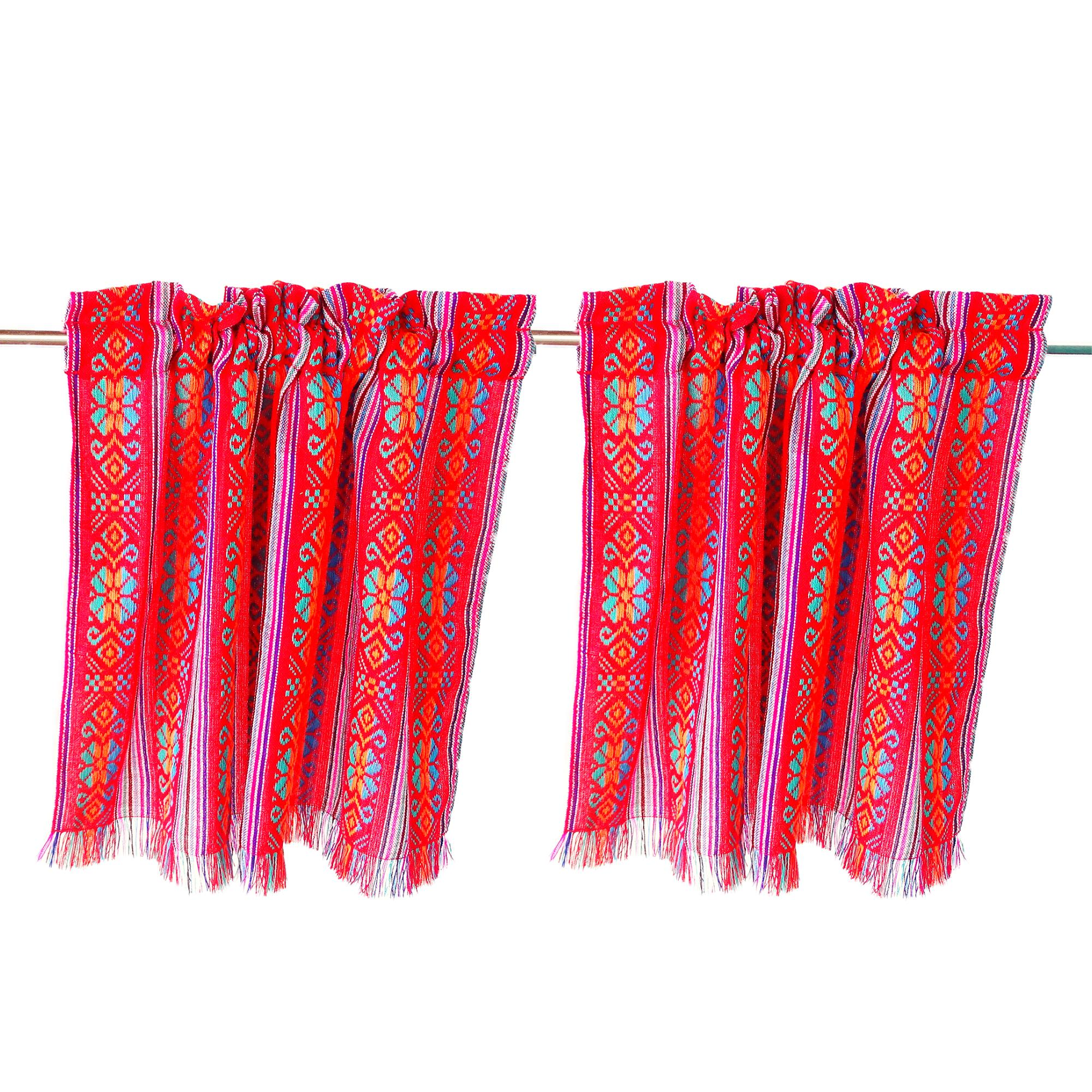 Set of Two Red Tribal Style curtains made from Mexican fabrics