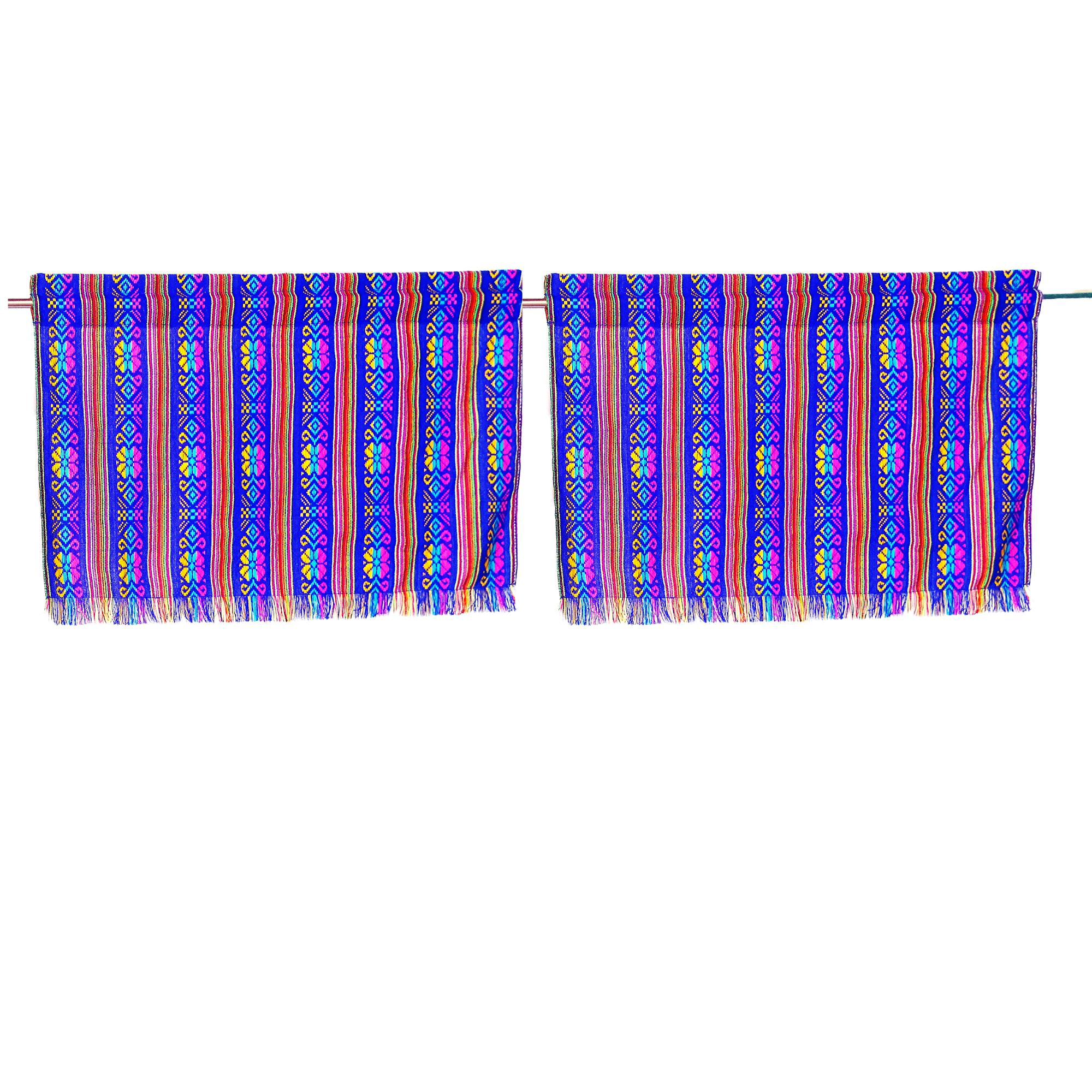 Set of two colorful curtains, Bohemian curtains, Boho decor. Royal Blue Curtains.