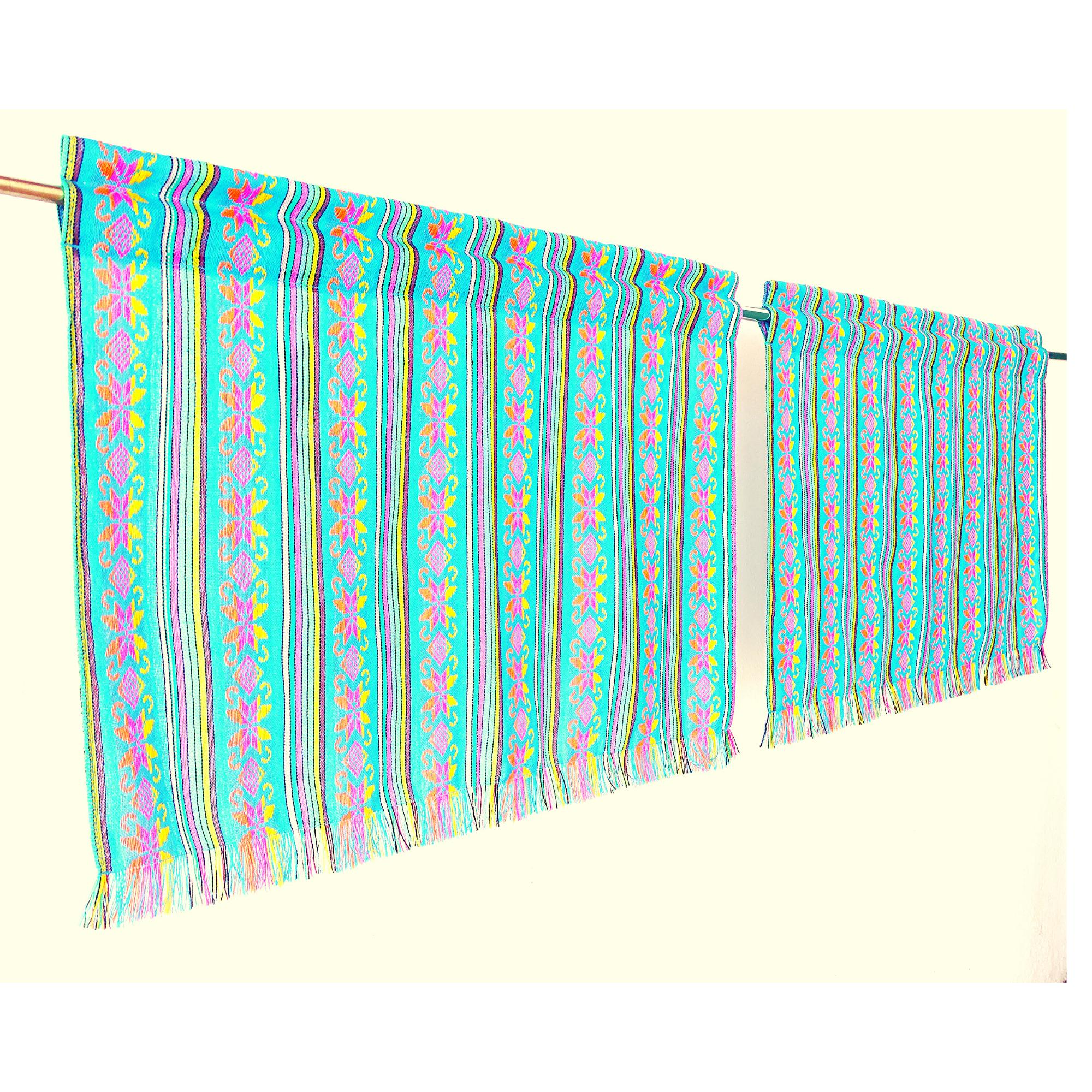Set of two colorful curtains, Bohemian curtains, Boho decor. Turqouise Blue Curtains.