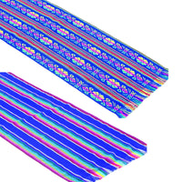 2 Pack Mexican Fabric Royal Blue Table runners, Fiesta Decorations Cinco de Mayo.