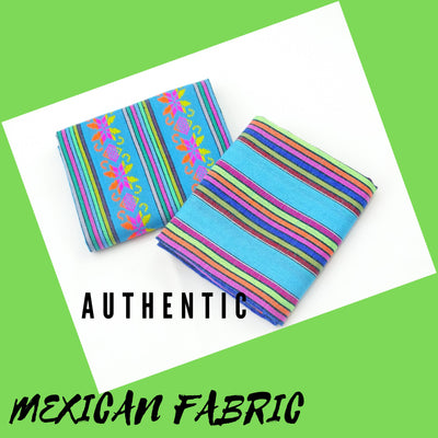 Turquoise Mexican Fabric 2 Yards, fiesta decoration, Tribal Fabric,