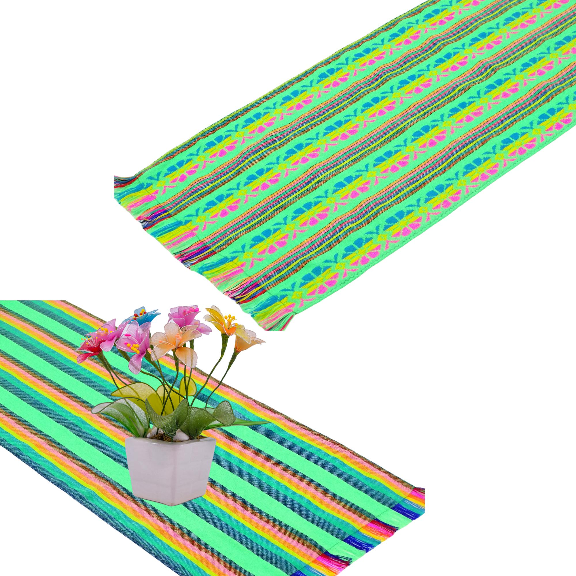 2 Pack Mexican Fabric Lime green Table runners, Fiesta Decorations Cinco de Mayo.