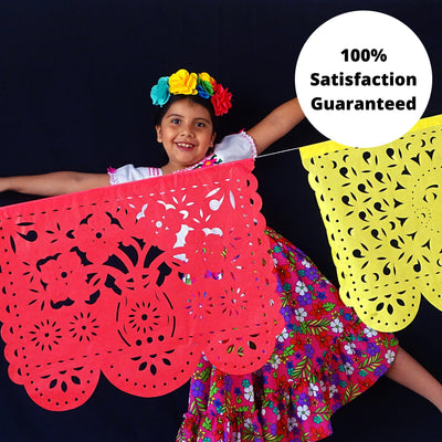 Mexican papel picado banner, 5 PK, 16 FT, Paper garland, fiesta decoration, Cinco de Mayo, B272