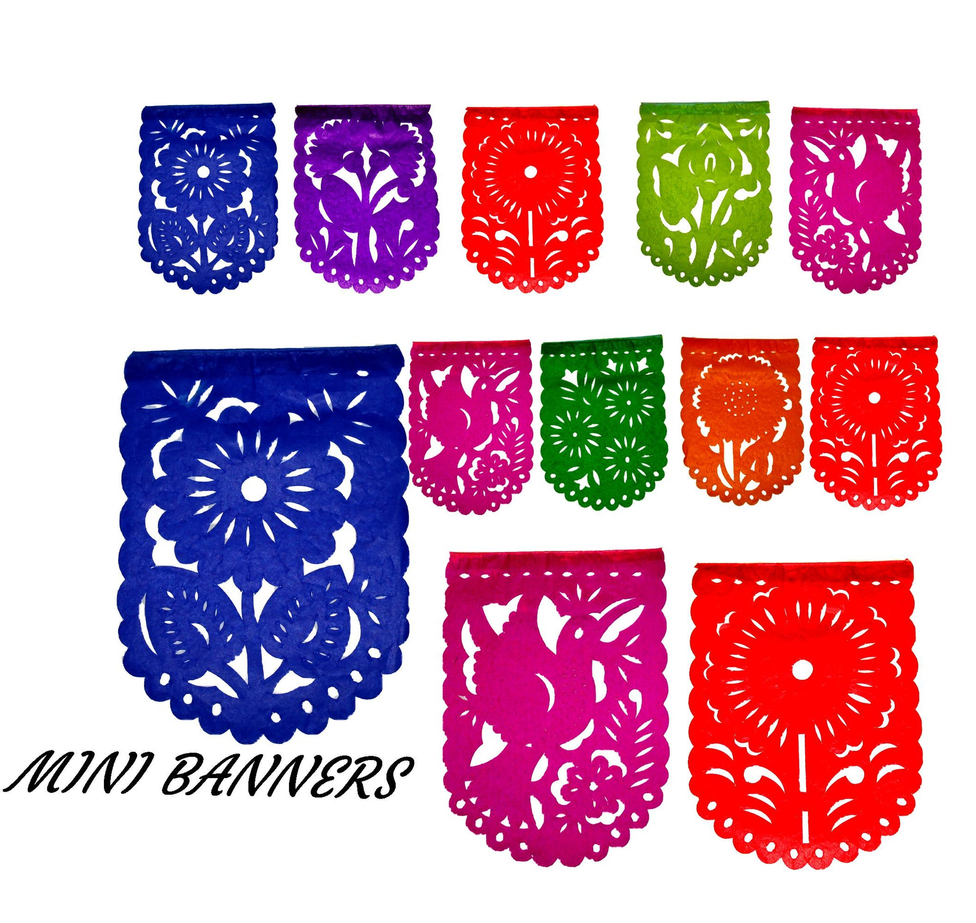 5 Pack Mini Papel picado banners, 25 Feet long MINI47