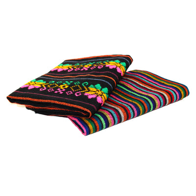 Cinco de mayo fabric, 2 Yards Bundle, Fiesta decoration, Black fabric, tribal fabric with colorful stripes.