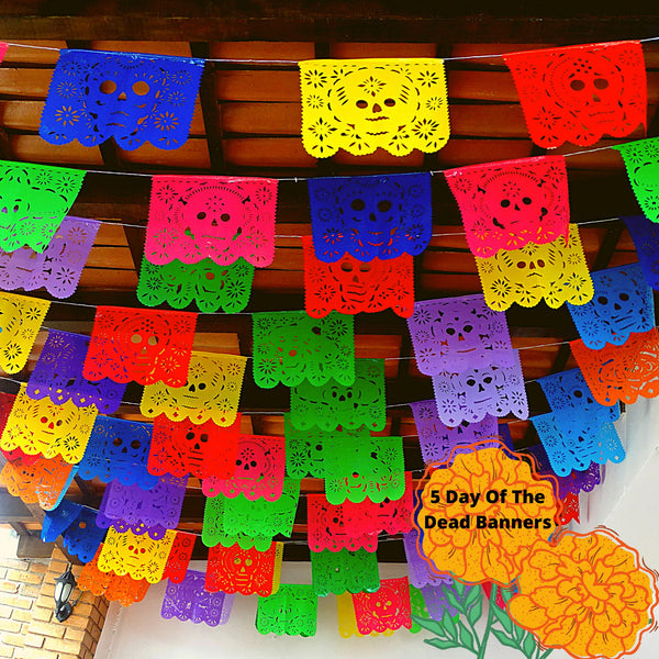 5 Pack Plastic day of the dead banners, Fiesta decoration,