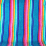 Mexican Striped Fabric - Teal blue, Fiesta decoration, Tribal Fabric,