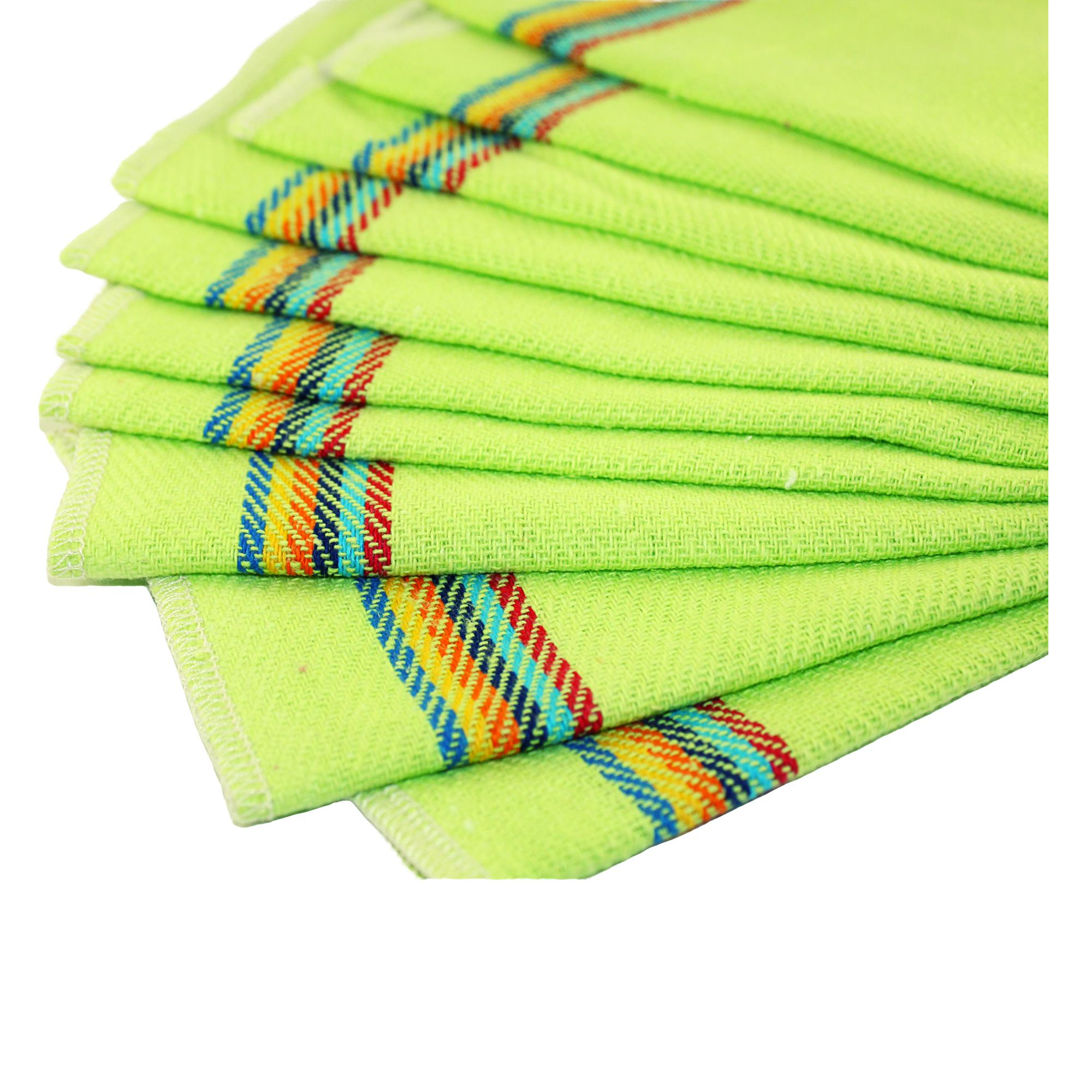 Reusable eco friendly Unpaper Towels 9x11 Inches, set of 10, Bright Green paperless kitchen, Green Living