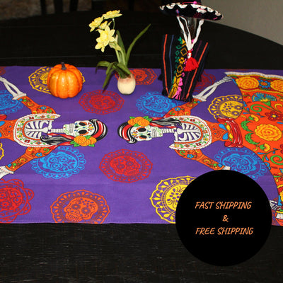 Day of the dead table runner 23x60 Inches, Day of the dead Altar, Halloween decorations, Dinner party Muertos, fiesta decoration, Muertos 01