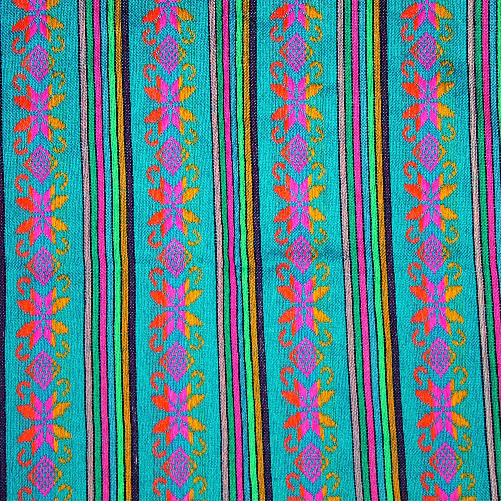 Authentic Mexican Fabric Tribal Turquoise