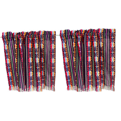Set of two colorful curtains, Bohemian curtains, Boho decor.