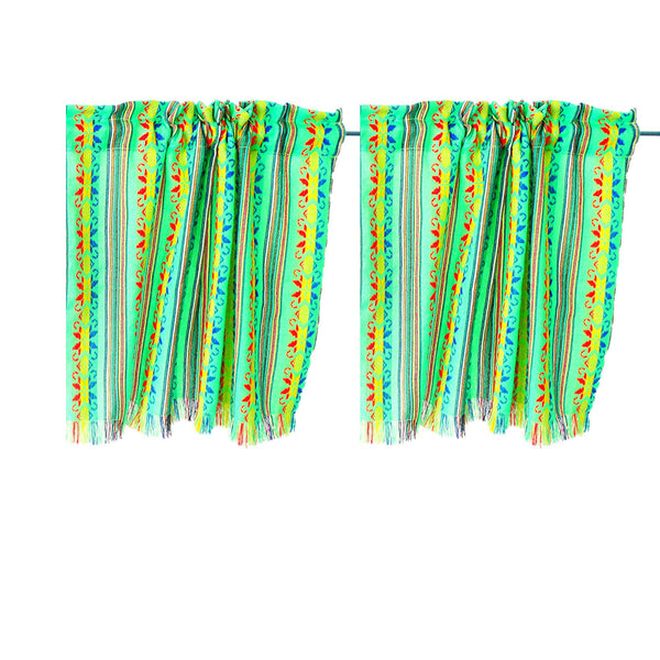 Set of two colorful curtains, Bohemian curtains, Boho decor. Green Curtains.