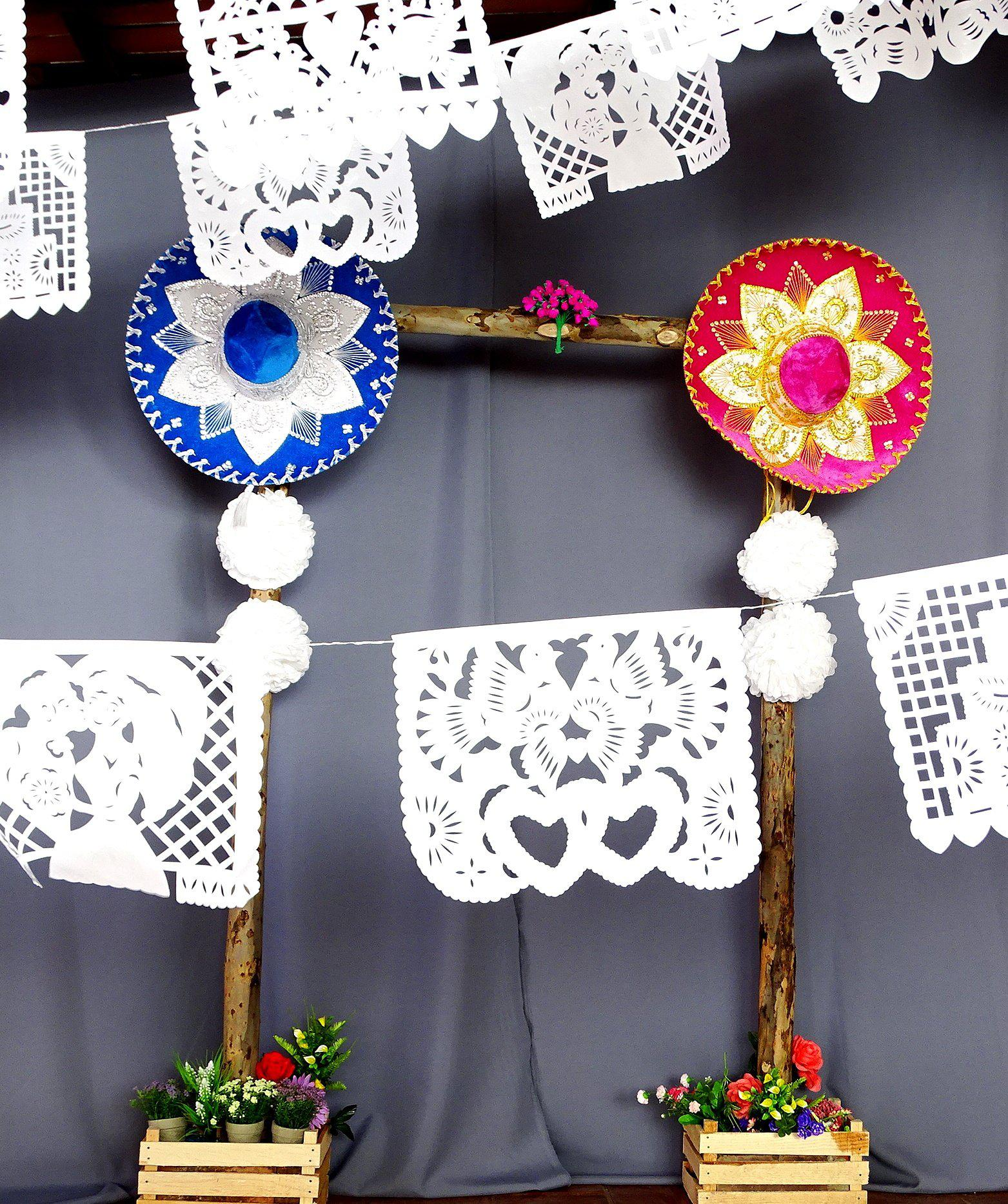 White Papel Picado PLASTIC for weddings, bridal, or rehearsals 16 Ft Long B41