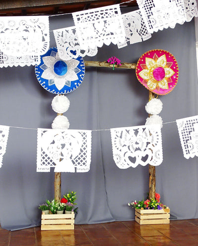5 Plastic Wedding Garlands, White Mexican Banners 16 feet long each B41