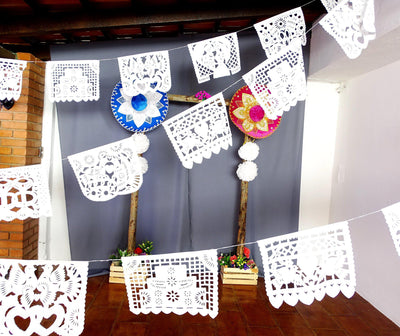 White Mexican Banner, Papel Picado White - PLASTIC, 16 Feet Long, Fiesta decoration, Mexico decor, B41
